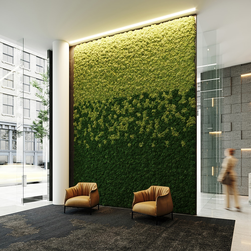 Moss-Wall-with-Two-Orange-Chairs-Square